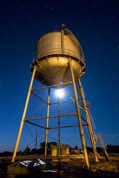 Water tower plus moon