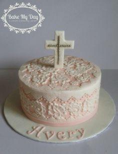 Pink lace Christening cake