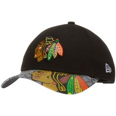 Chicago Blackhawks Toddler Black Primary Logo Crown with Sublimated Logo Reflective Bill Adjustable Hat by New Era #Chicago #Blackhawks #ChicagoBlackhawks