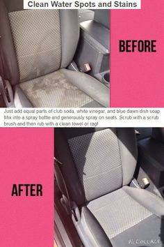 Clean the car seat with club soda/dawn/white vonegar mixture. Smart DIY tips and ideas to clean the home - 20 Cleaning Tips for Neat Freaks - One Crazy House Car Cleaning Hacks, House Cleaning Tips, Cleaning Solutions, Spring Cleaning, Car Hacks, Car Interior Cleaning, Detail Car Cleaning, Cleaning Inside Of Car, Cleaning Supplies