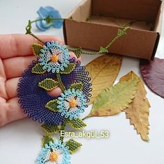 We have another necklace ready. 💙💙💙🍁🍁🍁 Boxes Kemal is hard working . Crochet Borders, Home Crafts, Crochet Earrings, Old Things, Elsa, Kaftan, Accessories, Jewelry, Garden