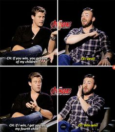 9 Times Chris Evans & Chris Hemsworth Were BFFs Chris Evans & Chris Hemsworth's 'Age of Ultron' Interviews Prove That They Have The Best Bromance Marvel Jokes, Funny Marvel Memes, Dc Memes, Marvel Dc Comics, Funny Memes, Mcu Marvel, Marvel Heroes, Captain Marvel, Age Of Ultron