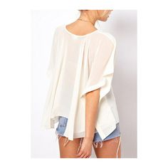 Batwing Sleeve White High Low T Shirt