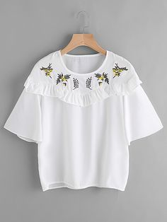 SheIn offers Embroidery Frill Trim Blouse & more to fit your fashionable needs. Blouse Patterns, Embroidery Patterns, Kids Fashion, Womens Fashion, Vogue, Blouse Online, Dress Outfits, Dresses, Cute Tops