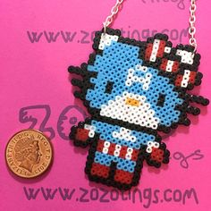 Captain America Hello Kitty Perler Necklace by ZoZoTings