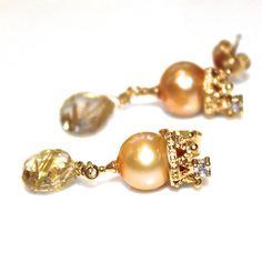 Pearl Crown Earrings Golden Rutilated Quartz Earrings by FizzCandy