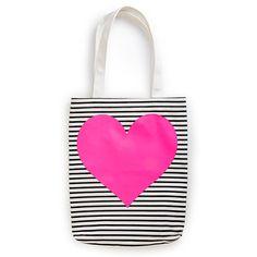canvas tote - black/white stripe with neon heart