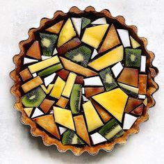 Classic lemon tart with a blueberry layer. Topped with tessellated fruit design…. Classic lemon tart with a blueberry layer. Topped with tessellated fruit design. Cute Food, Yummy Food, Healthy Food, Pastry Art, Food Design, Design Ideas, Creative Food, Food Presentation, Food Art