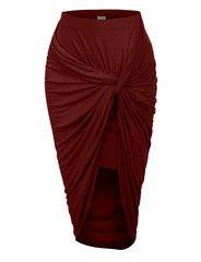 LE3NO Womens Asymmetrical Banded Waist Wrap Cut Out Hi Low Skirt   LE3NO