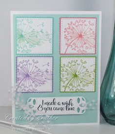 Dandelion Wishes Quadrupled for Freshly Made Sketches- Coastal Cabana, Flirty Flamingo, Highland Heather, Granny Apple Green. Background paper Pool Party Source by - Stampin Up Karten, Dandelion Wish, Hand Stamped Cards, Making Greeting Cards, Stamping Up Cards, Handmade Birthday Cards, Card Sketches, Paper Cards, Flower Cards