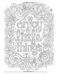 Live for Today Coloring Book (Coloring is Fun) (Design Originals) 32 Inspiring Quotes & Beginner-Friendly Creative Art Activities from Thaneeya McArdle; High-Quality, Extra-Thick Perforated Pages Quote Coloring Pages, Coloring Pages Inspirational, Free Adult Coloring Pages, Colouring Pages, Coloring Sheets, Coloring Books, Coloring Pages For Grown Ups, Doodle Coloring, Mandala Coloring