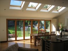 Single storey extension with Velux. Kitchen Diner Extension, House Design, Garden Room, Bungalow Extensions, Home, House, House Extensions, New Homes, 1930s House