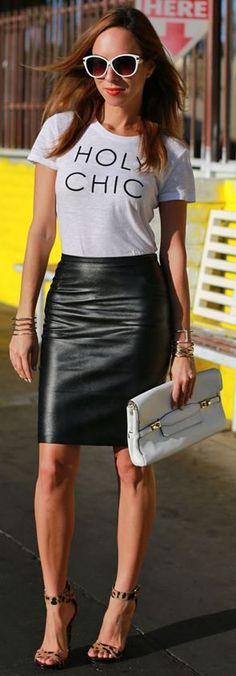H & M Black Chic lápis de couro saia de Midi por Sydne Estilo