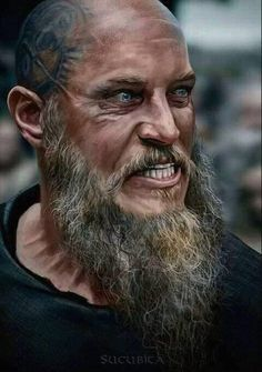 Vikings Ragnar Lothbrok Travis Fimmel The older and crazier they made the character the hotter he became. Ragnar Lothbrok Vikings, Ragner Lothbrok, Vikings Show, Vikings Tv Series, Viking Life, Viking Warrior, Rey Ragnar, Ivar Vikings, Viking Quotes