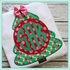 Monogrammed Christmas Tree Applique- EMbroidery Boutique-HAVE