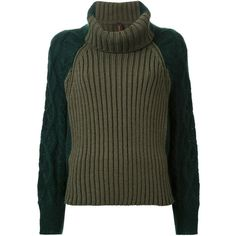 Mihara Yasuhiro contrast sweater (45.530 RUB) ❤ liked on Polyvore featuring tops, sweaters, green, mihara yasuhiro, green sweater and green top