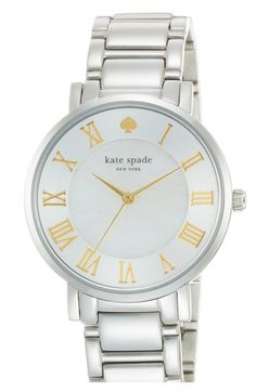 kate spade new york 'gramercy grand' round bracelet watch, 38mm at Nordstrom.com. A luminous mother-of-pearl dial and timeless Roman numeral indexes lend stately appeal to this gorgeous bracelet watch.