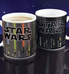 star wars heat changing mug, the ultimate mug for the office!  Sabers light up when you make a nice hot cuppa.