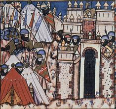 Panel 1 of Cantiga 51 of the Cantigas de Santa Maria of Alfonso X  The Count of Poitiers and his men laid siege to a castle in Orleans.