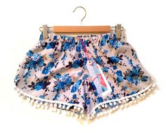 Grey and Blue Vintage Floral Pom Pom Shorts by ThePinkFlamingoEtsy