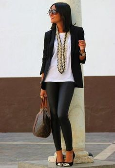 Women's Black Blazer, White Crew-neck T-shirt, Black Leather Leggings, Black Suede Pumps