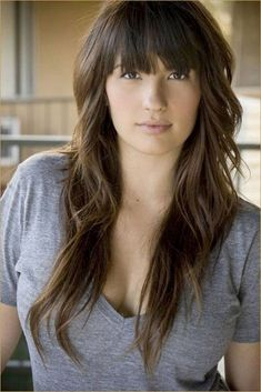 Long Hair With Bangs And Layers Long Triangular Layers Curl Up Amp Dye Pinterest Search #BouffantHairHairstyles