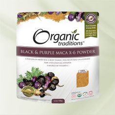 Organic Traditions Maca Black and Red-Purple (Raw Gelatinized) Black Maca, Raw Desserts, Vitamins And Minerals, Red Purple, Health And Wellness, Herbalism, Nutrition, Organic, Traditional