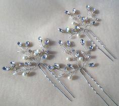 Set of 3 Bridal Hair pins Rhinestone by MagicBluebellDesigns