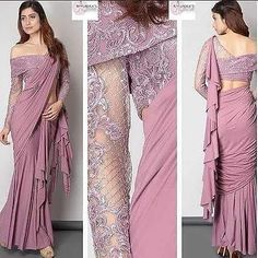 silk blouse designs off shoulder Saree Saree Jacket Designs, Fancy Blouse Designs, Saree Designs Party Wear, Party Wear Sarees, Trendy Sarees, Stylish Sarees, Stylish Blouse Design, Saree Trends, Dress Indian Style