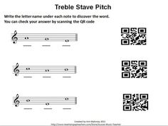 QR Code Treble Pitch Worksheets. FREE download.