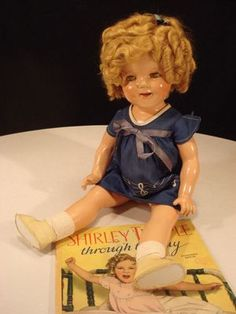 "22"" Vintage 1930's SHIRLEY TEMPLE Composition IDEAL DOLL w/Original Clothes"