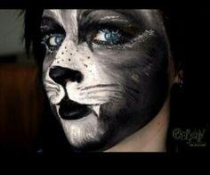 Werewolf makeup for Halloween - Halloween Costumes 2013 Black Cat Face Paint, Black Panther Face, Kitty Face Paint, Cat Face Makeup, Black Cat Makeup, Face Painting Images, Face Painting Designs, Face Images, Cat Face Halloween