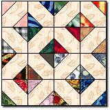 Indian Hatchet. 1/2 squares on solid block corners