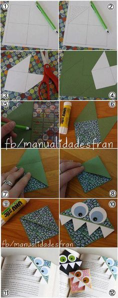 marcapaginas ------ Monstrously good corner bookmarks you can craft yourself Origami Paper, Diy Paper, Paper Art, Paper Crafts, Diy Bookmarks, Corner Bookmarks, Cute Crafts, Diy And Crafts, Arts And Crafts