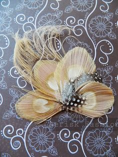 Ivory peacock feather fascinator - MISATO design for derby, wedding, and gatsby party - CHOOSE headband, comb or hair clip