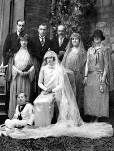 Princess Irina Pavlovna Paley-Romanov and Prince Fyodor Alexandrovich Romanov of Russia, married in London in 1923, the bride and the groom were cousins, in the picture Grand Duke Alexander Mikhailovich of Russia, his wife the sister of Nicholas II, Grand Duchess Xenia of Russia, Grand Duke Dmitri Pavlovich of Russia half brother of Irina, and princess Olga Paley her mother.