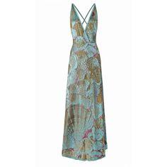 Ekaterina Kukhareva - Sena Dress ($680) ❤ liked on Polyvore featuring dresses, plunge-neck dresses, plunging neckline maxi dress, colorful dresses, maxi dress and white dress