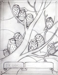 Ex Libris Sketch - Tree by kissabug, love these little owls, wish I'd seen them while I was working on my last illustration. Family Tree Drawing, Owl Sketch, Owl Illustration, Owl Family, Owl Print, Trendy Tree, Doodle Art, Art Lessons, Painting & Drawing