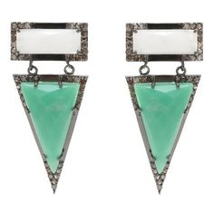 ADORNIA Chrysoprase, White Agate, and Champagne Diamond Wooster... ($725) ❤ liked on Polyvore featuring jewelry, earrings, green, white agate jewelry, green agate earrings, diamond post earrings, chrysoprase earrings and triangle diamond earrings