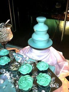 Tiffany Blue Chocolate Fountain, Huge Cupcakes and Diamond Decor - Cute! Tiffany Birthday Party, Tiffany Party, 18th Birthday Party, Tiffany Wedding, Blue Wedding, Dream Wedding, Wedding Day, Blue Bridal, Wedding Things