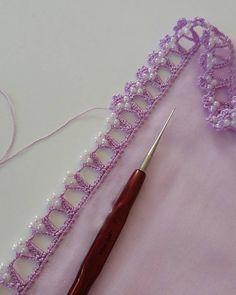 Eye Nuru Ottoman Crochet Beaded Needlework Model Is Enchanting Hand Embroidery Patterns Flowers, Crochet Edging Patterns, Embroidery Neck Designs, Crochet Lace Edging, Couture Embroidery, Hand Embroidery Stitches, Baby Knitting Patterns, Crochet Stitches, Crochet Baby Clothes