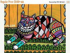 50% Off- NEW Cat ART Poster Folk Art Print Heather Galler (HG699)