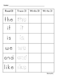 Sight word practice, over 50 words for Kindergarten.