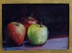 "Gail Grant California impressionist oil painting alla prima 3 apples 5"" x 7"" #Impressionism"