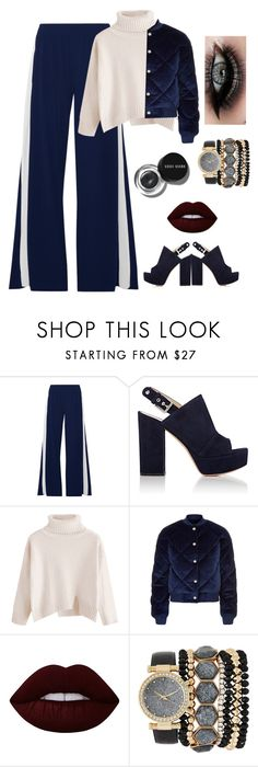 """""""Sporty girl 💪"""" by ayah999 ❤ liked on Polyvore featuring Norma Kamali, Gianvito Rossi, Maje, ASAP, Lime Crime, Bobbi Brown Cosmetics and Jessica Carlyle"""
