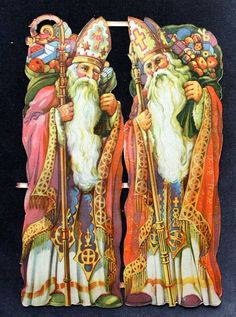 Vintage Original Gingerbread Die Cut Scraps, Decoupage ,Two medium Santas  8,5""