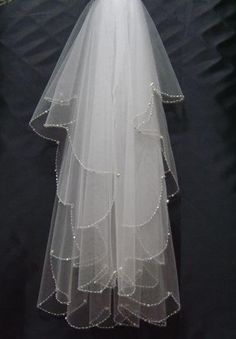 2015 Stunning 2 Layers Beads Cheap Fingertip Bridal Veils Organza Wedding Veil Custom Made Bridal Veils Sku459 Bridal Illusion Veil Bridal Tiaras And Veils From Lindabridal, $31.42| Dhgate.Com