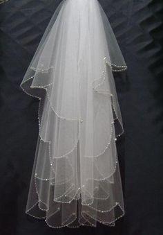 2015 Stunning 2 Layers Beads Cheap Fingertip Bridal Veils Organza Wedding  Veil Custom Made Bridal Veils 8c1577c865d0