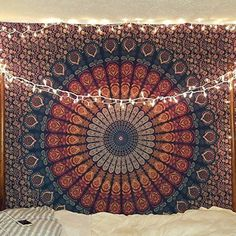 Hippie Mandala Bohemian Psychedelic Intricate Floral Design Indian Cotton Bedspread Picnic Bedsheet Wall Art Hippie Tapestry, 85 x 90 Inches - Room Ideas - wandkunst Hippie Bedding, Tapestry Bedding, Bohemian Bedspread, Bohemian Tapestry, Hippie Bohemian, Bohemian Homes, Hippie Tapestries, Colorful Tapestry, Hippie Chic