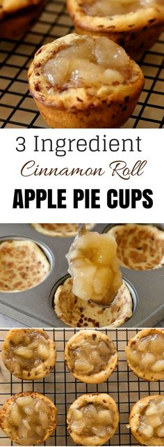 Cinnamon Roll Apple Pie Cups recipe only requires 3 ingredients with no filling preparation or pastry rolling required! Serve them with some ice cream or yogurt and watch everyone swoon. They are as g (Baking Desserts 3 Ingredients) Mini Desserts, Apple Desserts, Easy Desserts, Dessert Recipes, Baking Desserts, Dessert Simple, Muffin Tin Recipes, Apple Pie Recipes, Muffin Tins